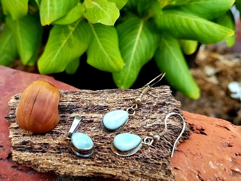 Sterling Silver & Larimar Pendant / Earrings Set