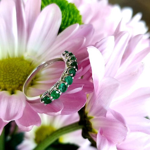 Sterling Silver & Nine Stone Emerald Band