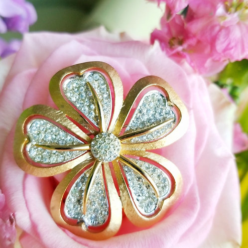 1940's Coro Pave' Crystal Flower Brooch