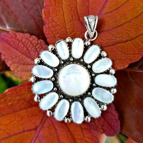 Sterling Silver & Mother of Pearl Flower Pendant