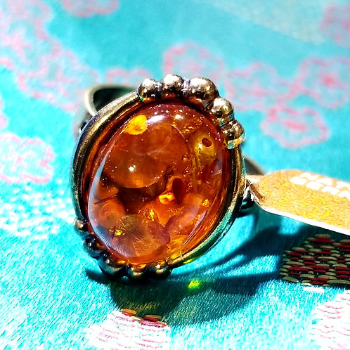 Vintage Natural Baltic Amber Sterling Ring