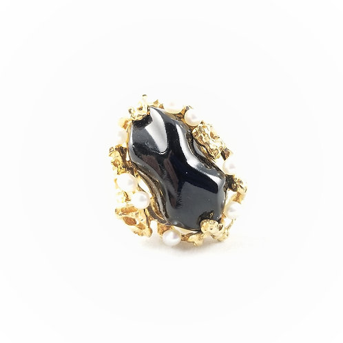 Vintage 14k Natural Black Coral & Pearl Cocktail Ring
