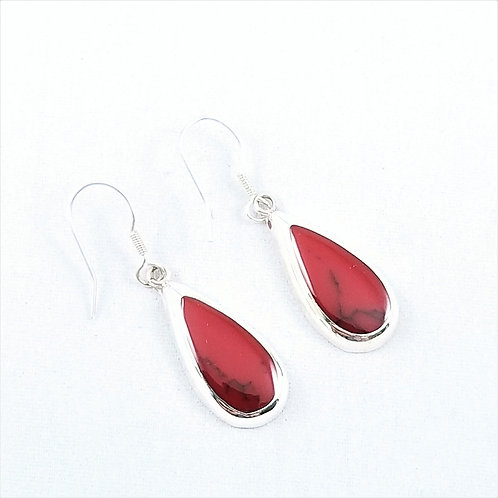 Sterling Silver and Red Coral Drop Earrings