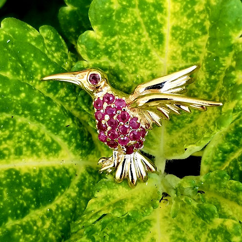 Vintage Vermeil Ruby Bird Brooch