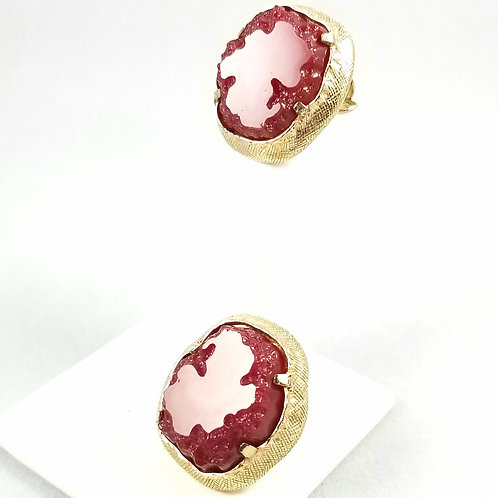 Vintage Castlecliff Red Quartz Geode Clip On Earrings