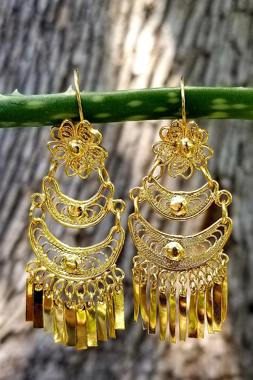 Vermeil Hand Crafted Chandelier Earrings
