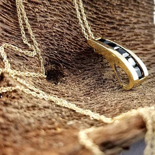 """10k Black Onyx Necklace on 10k 18"""" Chain"""