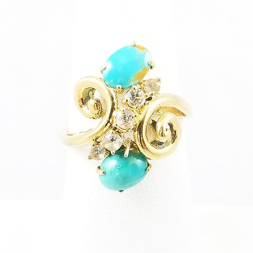 Vintage 18k Turquoise and Sapphire Ring