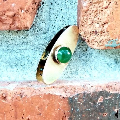 Vintage 14k Green Onyx Tie Clip