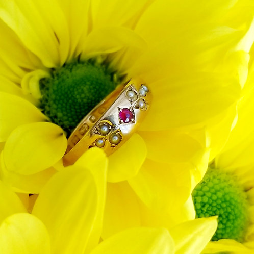 RARE 22k Victorian Ruby & Seed Pearl Ring