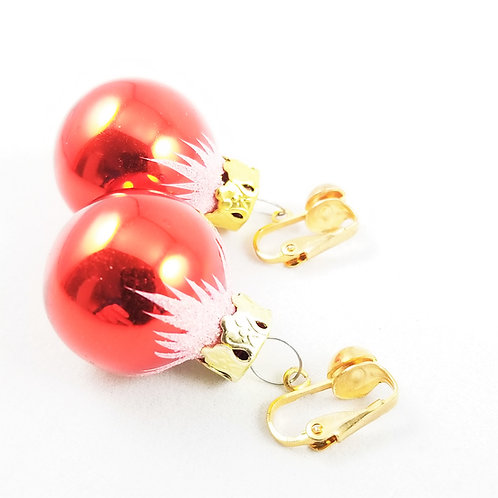 Vintage Red Glass Ornament Earrings