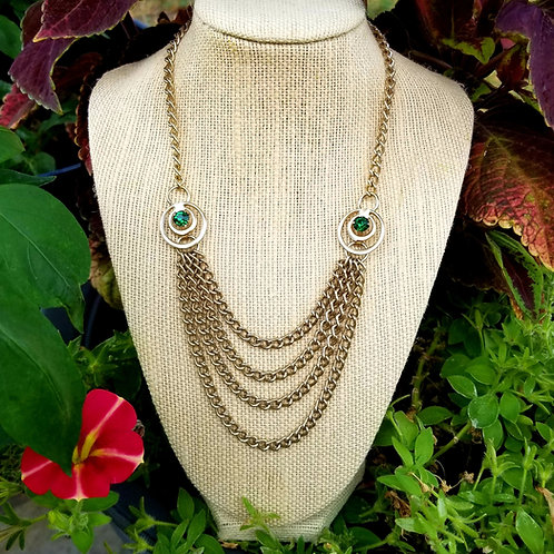 Retro Waterfall Gold Tone Green Crystal Necklace