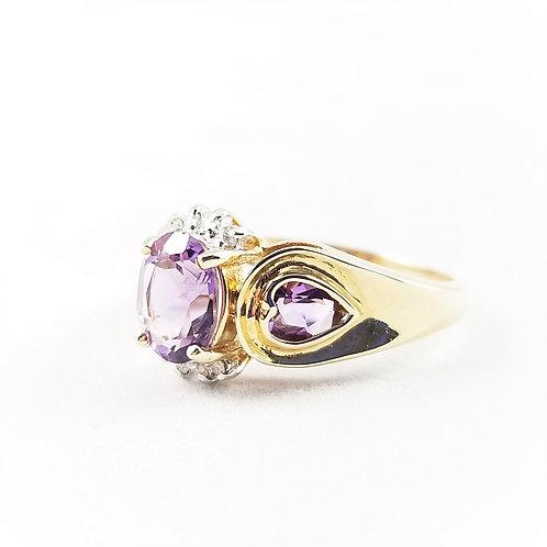 14k Amethyst & White Sapphire Heart Ring