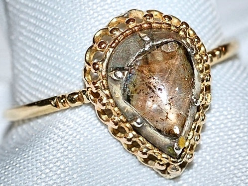 15k & Sterling Rough Rose Cut Diamond Ring SOLD