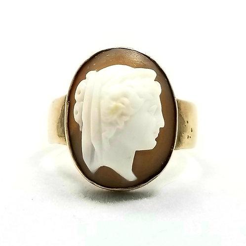 "Antique 10k Shell ""Hera"" Goddess Cameo Ring"