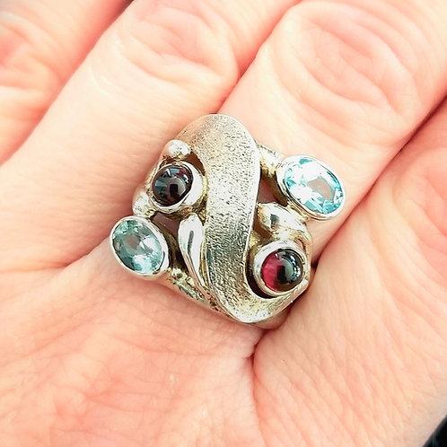 Artisan Blue Topaz & Garnet Sterling Ring