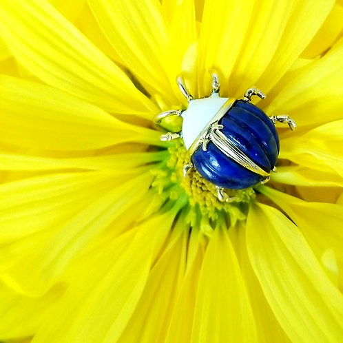 Vintage 18k Tiffany & Co. Lapis Ladybug Pin