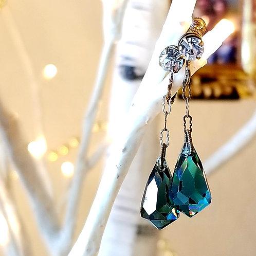 Art Deco Teal Glass & Paste Dangle Earrings