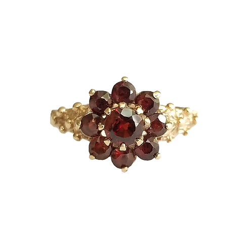 Antique Style 9k Garnet Cluster Ring by Charles Lyster & Sons