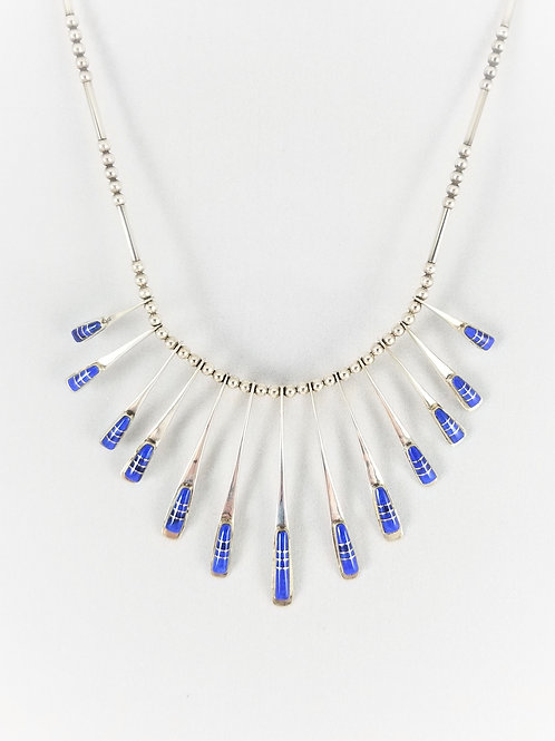 Hand Crafted Sterling Silver & Lapis Waterfall Necklace
