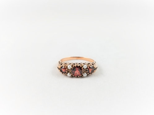 9k Victorian Garnet & Seed Pearl Ring SOLD