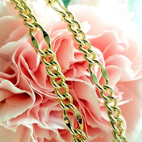 """Vintage 24"""" Figaro Gold Plate Chain"""