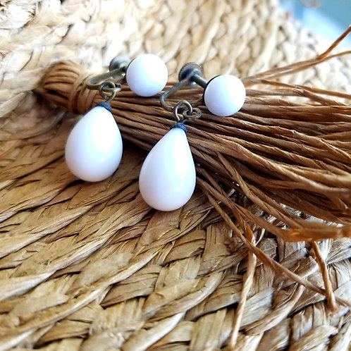 Mid-Century White Porcelain Dangle Earrings