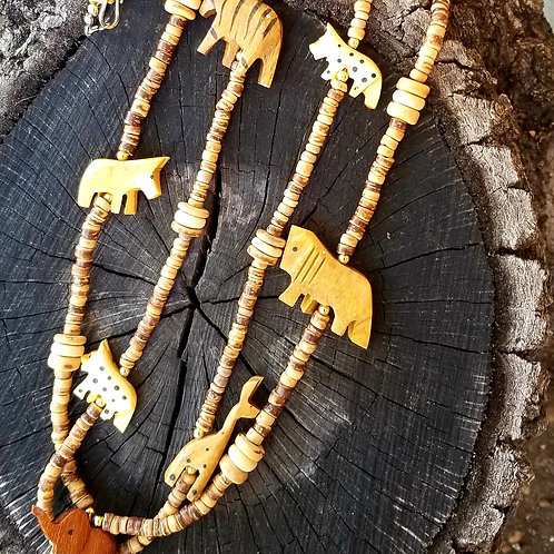Vintage Hand Crafted African Wood Fetish Necklace