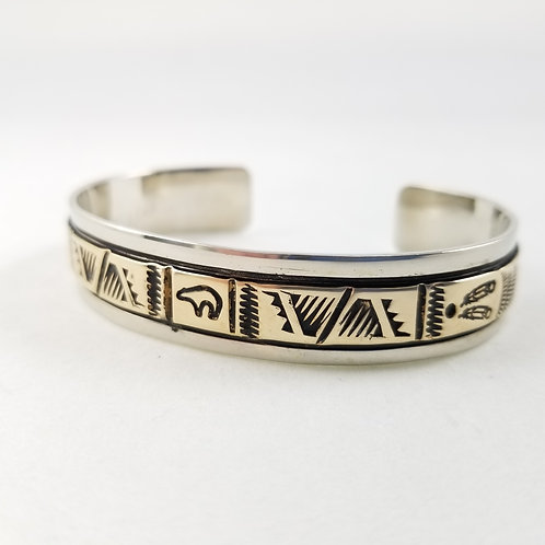 Hand Crafted Navajo Sterling Silver & 14k Cuff by T. Enreka