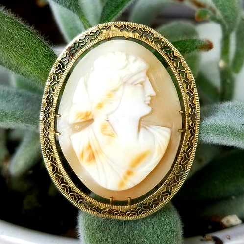 1940's Gold Overlay Shell Cameo Pin