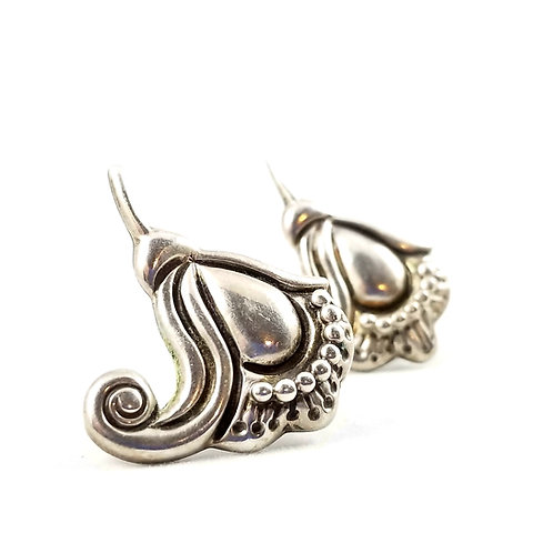 Art Deco Hand Crafted Sterling Silver Earrings