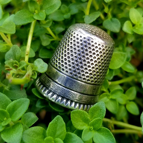 Victorian Sterling Ketcham McDougall Thimble, Size 9