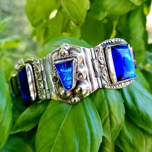 Vintage Mayan Warrior Blue Glass & Sterling Panel Bracelet