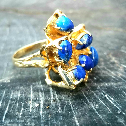 Vintage 14k Cabachon Lapis Nugget Design Cocktail Ring