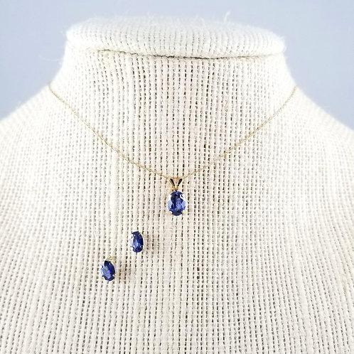 10k Sapphire Necklace & Stud Earring Set