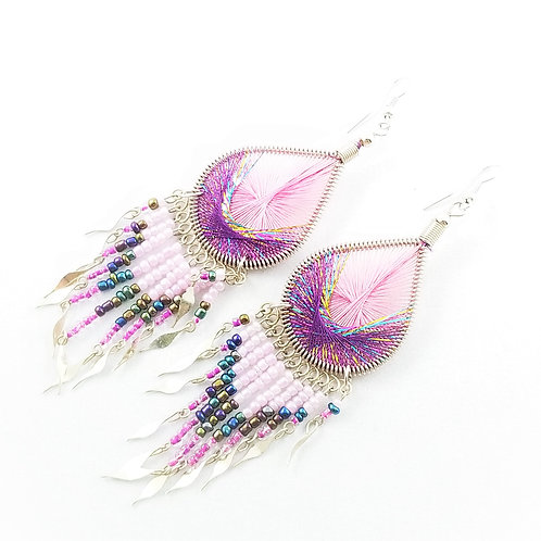 Hand Crafted Large Peruvian Thread Chandelier Earrings
