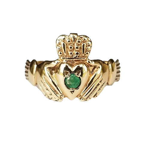 Vintage Emerald 9k Claddagh Ring