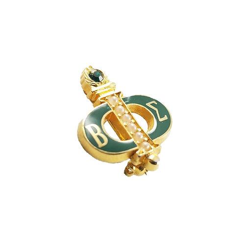 Vintage Green Enamel Beta Sigma Phi Pin