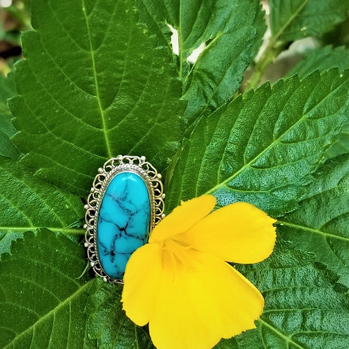 """Vintage """"Diaz Santoyo"""" Sterling Silver & Turquoise Ring"""