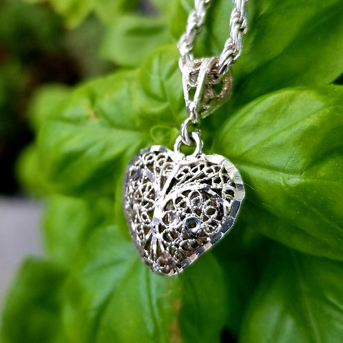 Hand Crafted Filigree Sterling Silver Double Sided Heart & Chain