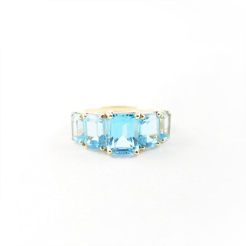 14k Swiss Blue Topaz Five Stone Ring