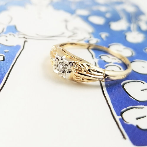 14k Art Deco Single Cut Diamond Ring