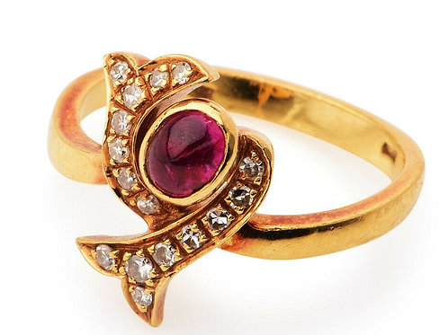 18k Italian Ruby & Diamond Bypass Ring