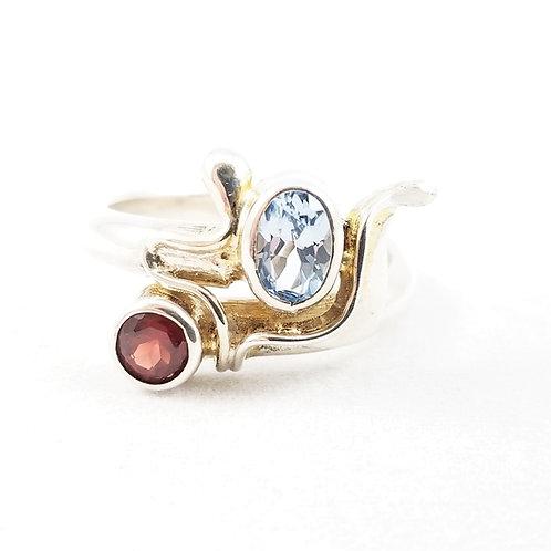 Abstract Artisan Topaz & Garnet Ring