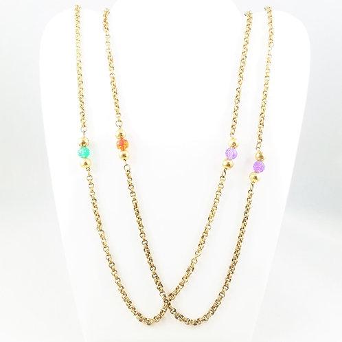 """RARE Victorian Gold Fill 56"""" Bead Chain"""