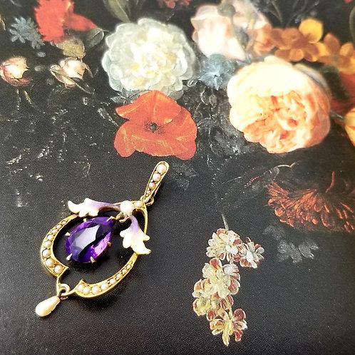 Art Nouveau 14k Amethyst, Pearl and Enamel Pendant