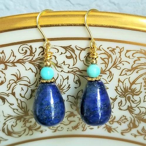 1950's Lapis & Turquoise 9k Earrings