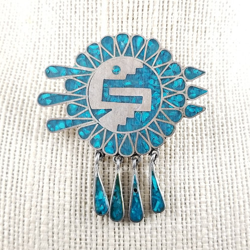 Vintage Turquoise Silver Aztec Warriors Brooch