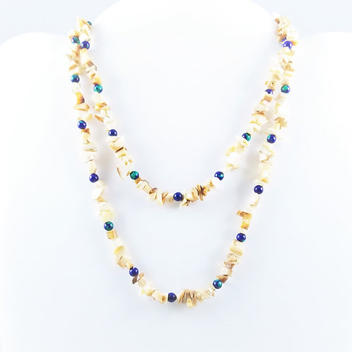 Vintage Shell & Azure-Malachite Bead Necklace