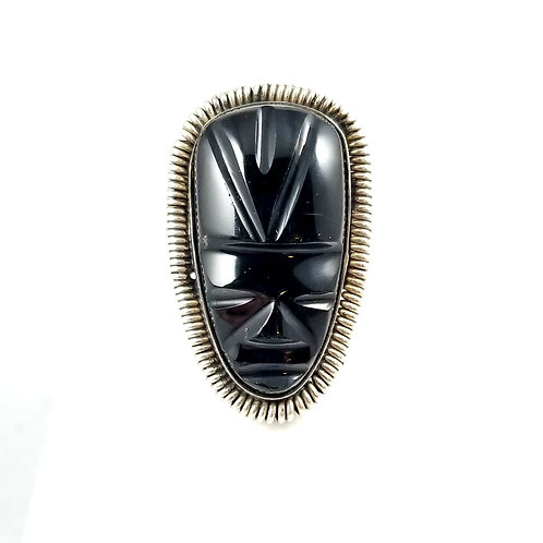 Sterling Silver Black Onyx Aztec Tribal Face Ring